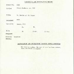 Image for K1960 - Condition and restoration record, circa 1950s-1960s