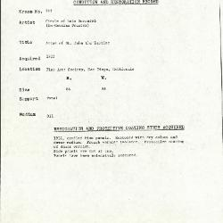 Image for K0195 - Condition and restoration record, circa 1950s-1960s