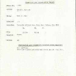 Image for K1919 - Condition and restoration record, circa 1950s-1960s