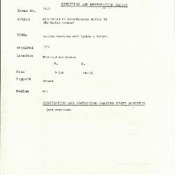 Image for K1913 - Condition and restoration record, circa 1950s-1960s