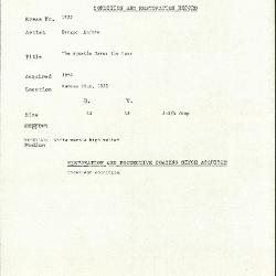 Image for K1922 - Condition and restoration record, circa 1950s-1960s