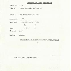 Image for K1925 - Condition and restoration record, circa 1950s-1960s