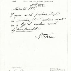 Image for K0194 - Expert opinion by Fiocco, circa 1930s-1940s