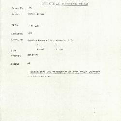 Image for K1967 - Condition and restoration record, circa 1950s-1960s