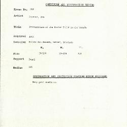 Image for K1990 - Condition and restoration record, circa 1950s-1960s