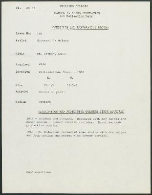 Image for K0199 - Condition and restoration record, circa 1950s-1960s