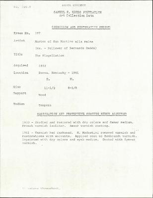 Image for K0197 - Condition and restoration record, circa 1950s-1960s