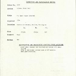Image for K1997 - Condition and restoration record, circa 1950s-1960s