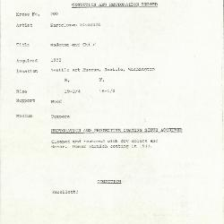 Image for K0200 - Condition and restoration record, circa 1950s-1960s