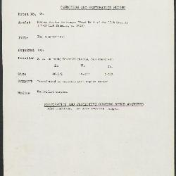 Image for K1994 - Condition and restoration record, circa 1950s-1960s