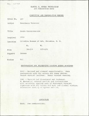 Image for K0207 - Condition and restoration record, circa 1950s-1960s