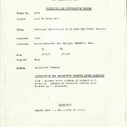 Image for K2070 - Condition and restoration record, circa 1950s-1960s