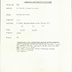 Image for K2065 - Condition and restoration record, circa 1950s-1960s