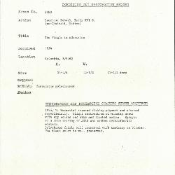 Image for K2080 - Condition and restoration record, circa 1950s-1960s