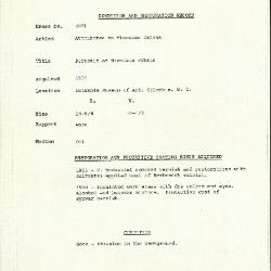 Image for K2071 - Condition and restoration record, circa 1950s-1960s