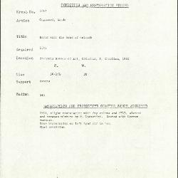 Image for K2092 - Condition and restoration record, circa 1950s-1960s