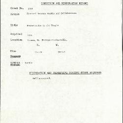 Image for K2098 - Condition and restoration record, circa 1950s-1960s