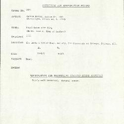 Image for K2091 - Condition and restoration record, circa 1950s-1960s