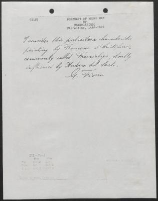 Image for K0212 - Expert opinion by Fiocco, circa 1930s-1940s