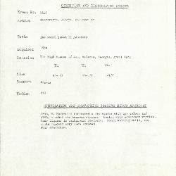 Image for K2137 - Condition and restoration record, circa 1950s-1960s