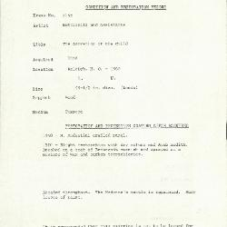 Image for K2155 - Condition and restoration record, circa 1950s-1960s