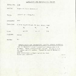Image for K2138 - Condition and restoration record, circa 1950s-1960s