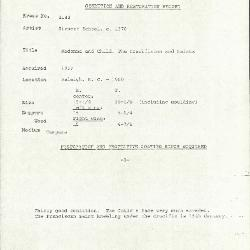 Image for K2142 - Condition and restoration record, circa 1950s-1960s