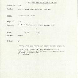 Image for K2134 - Condition and restoration record, circa 1950s-1960s