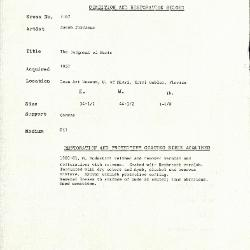 Image for K2167 - Condition and restoration record, circa 1950s-1960s