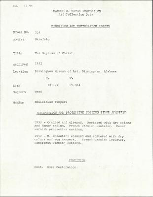 Image for K0214 - Condition and restoration record, circa 1950s-1960s