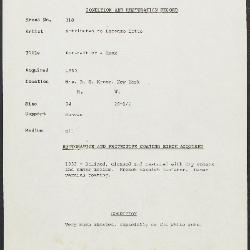 Image for K0218 - Condition and restoration record, circa 1950s-1960s