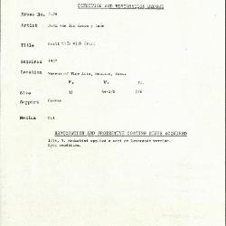 Image for K2176 - Condition and restoration record, circa 1950s-1960s