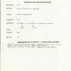 Image for K0224 - Condition and restoration record, circa 1950s-1960s