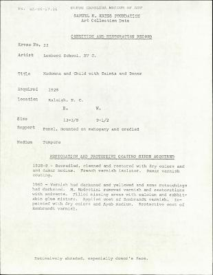 Image for K0022 - Condition and restoration record, circa 1950s-1960s