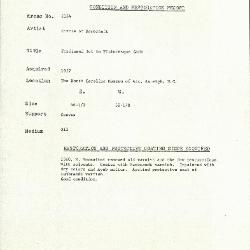 Image for K2184 - Condition and restoration record, circa 1950s-1960s