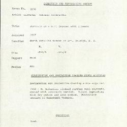 Image for K2190 - Condition and restoration record, circa 1950s-1960s