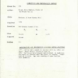 Image for K0239 - Condition and restoration record, circa 1950s-1960s