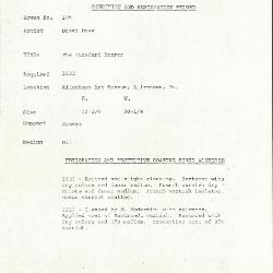 Image for K0226 - Condition and restoration record, circa 1950s-1960s