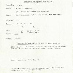 Image for K0231A - Condition and restoration record, circa 1950s-1960s