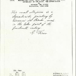 Image for K0259 - Expert opinion by Fiocco, circa 1930s-1940s
