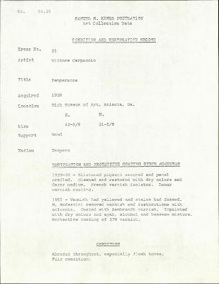 Image for K0025 - Condition and restoration record, circa 1950s-1960s