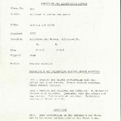 Image for K0253 - Condition and restoration record, circa 1950s-1960s