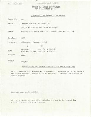 Image for K0260 - Condition and restoration record, circa 1950s-1960s