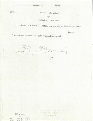 Image for K0268 - Expert opinion by Berenson, circa 1920s-1950s