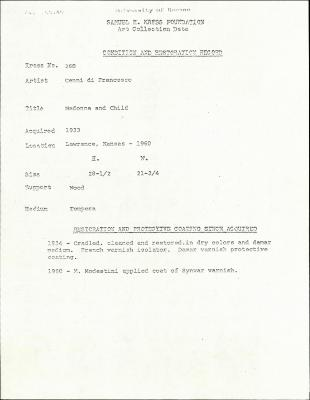 Image for K0268 - Condition and restoration record, circa 1950s-1960s