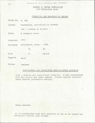 Image for K0269 - Condition and restoration record, circa 1950s-1960s