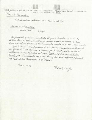Image for K0268 - Expert opinion by Longhi, 1933