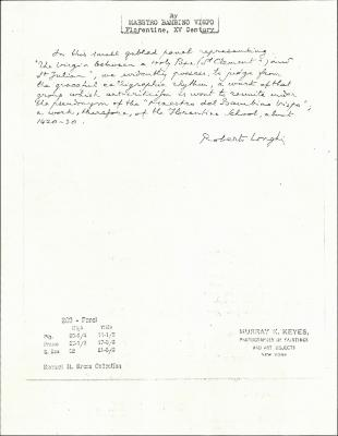 Image for K0260 - Expert opinion by Longhi, circa 1920s-1950s