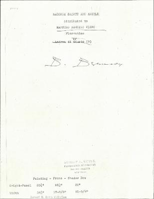 Image for K0260 - Expert opinion by Berenson, circa 1920s-1950s