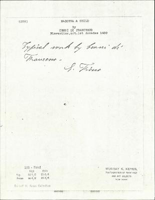 Image for K0268 - Expert opinion by Fiocco, circa 1930s-1940s